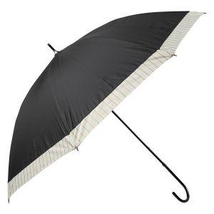 晴雨兼用長傘 ゴールドライン切替 ブラック