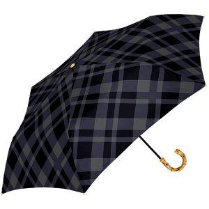 シアーチェック 折り畳み傘 ブラック