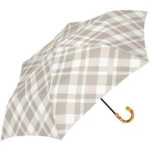 シアーチェック 折り畳み傘 ベージュ