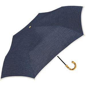 無地×パイピング 折り畳み傘 ネイビー
