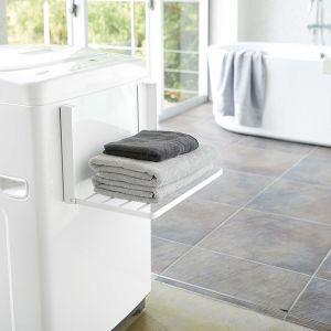 【オンライン限定】tower 洗濯機横マグネット折り畳み棚 ホワイト