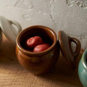 益子焼の丸壷 大 飴釉