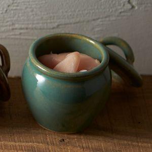 益子焼の丸壷 大 青磁釉