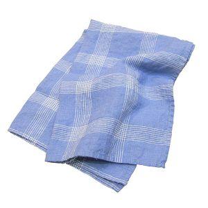 Linneキッチンタオル チェック ブルー×ホワイト