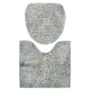 【オンラインストア限定】ミックスベーシック トイレマット&フタカバーセット ブルー×グリーン 特殊型