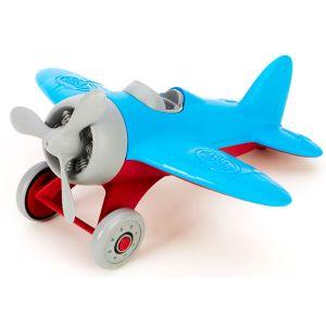 鮮やかなブルーカラーの飛行機のおもちゃです