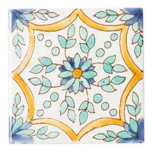 チュニジア 手描きタイル リーフ