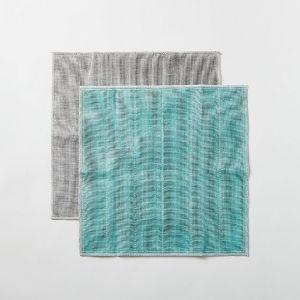 丸山繊維 蚊帳の夢 備長炭 色合わせふきん 水浅葱
