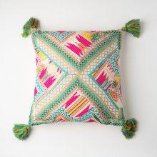 インド刺繍 パッチワーククッション 45×45 グリーンミックス