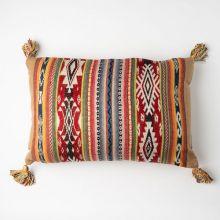 インド刺繍 ジャガードロングクッション 35×55 ブラウンミックス