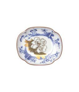 草花文木瓜形皿