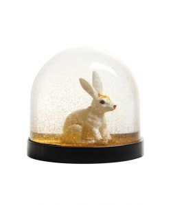 Wonder Ball white rabbit gold glitter