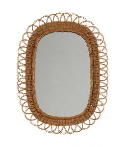 Vintage Rattan Mirror - D