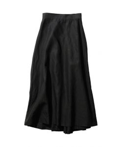 LINEN WEATHER TUCK DRAPED SKIRT  / ATON