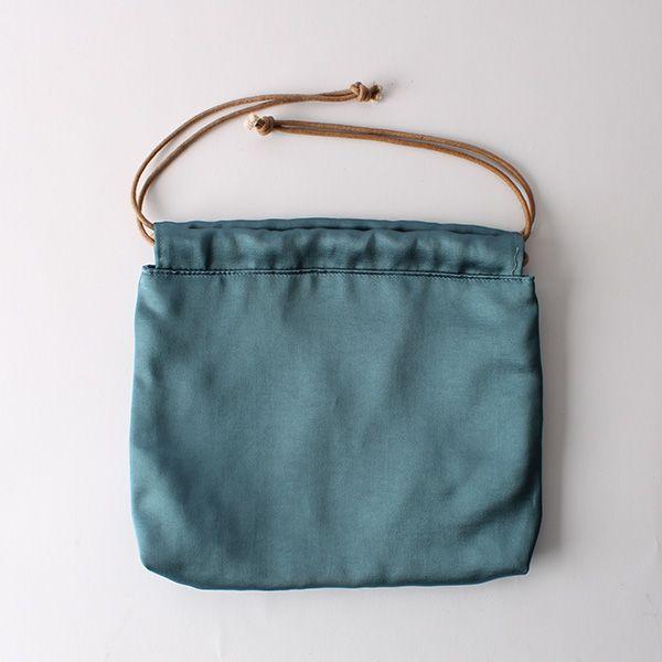 サテン巾着バッグ ブルーグリーン
