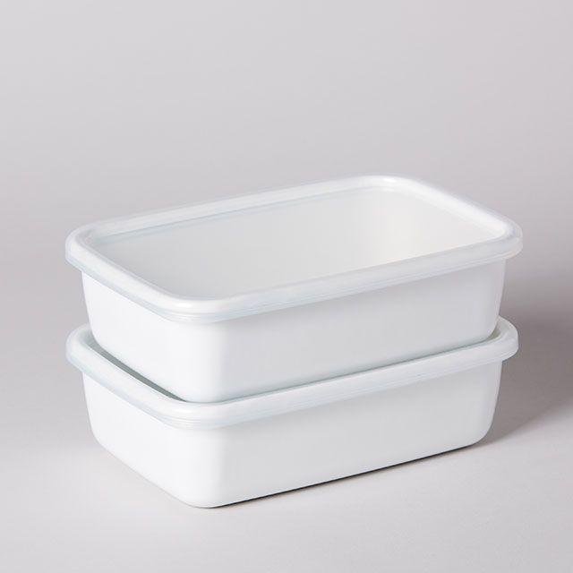 ホワイトシリーズ レクタングル深型 L / 野田琺瑯