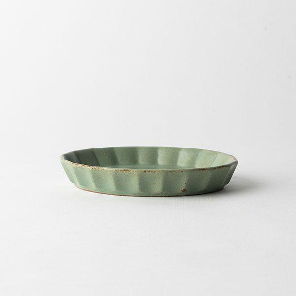 プリーツ楕円小皿 モスグリーン