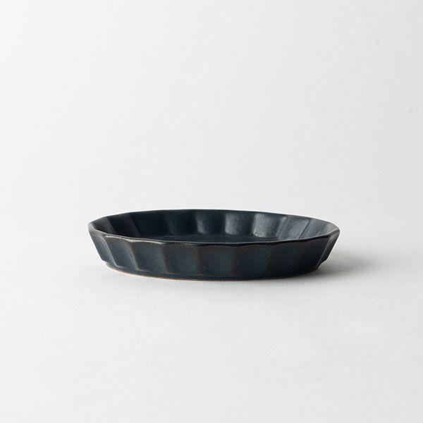 プリーツ楕円小皿 ネイビー