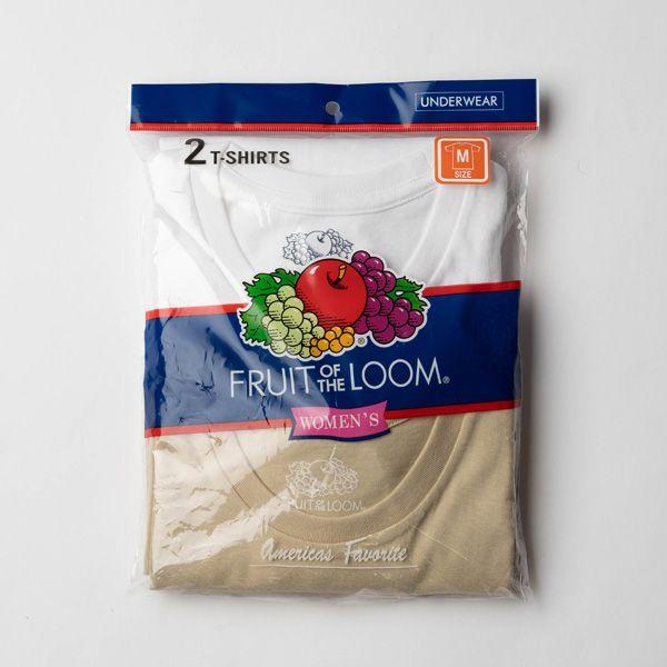 FRUIT OF THE LOOM Tシャツ2Pセット M ホワイト×ベージュ