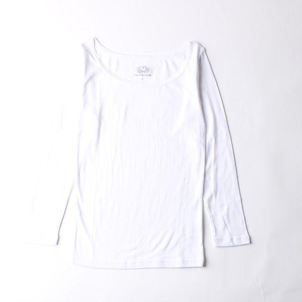 FRUIT OF THE LOOM 発熱インナーTシャツ Uネック九分袖 M ホワイト