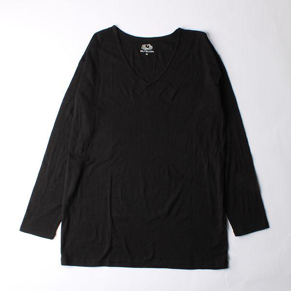 FRUIT OF THE LOOM 発熱インナーTシャツ Vネック九分袖 L ブラック