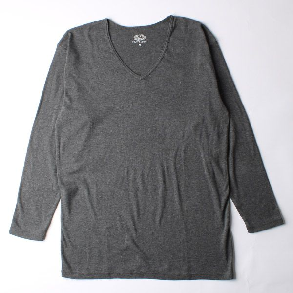 FRUIT OF THE LOOM 発熱インナーTシャツ Vネック九分袖 M チャコールグレー