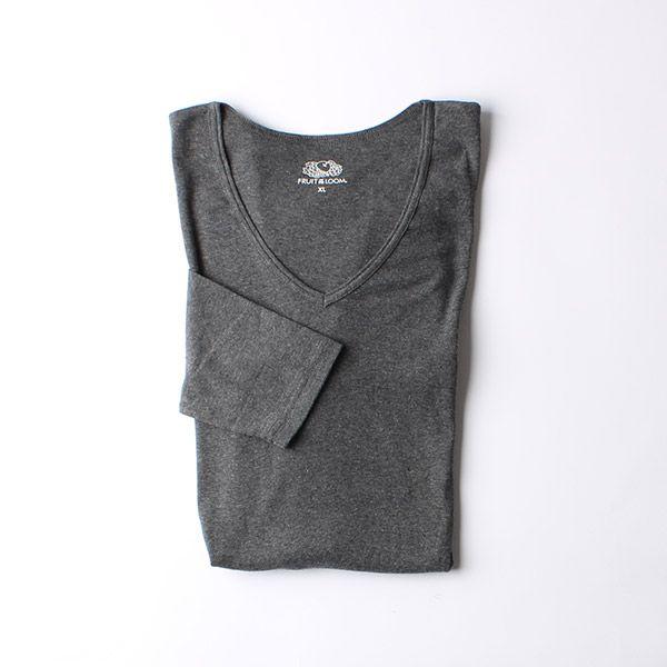 FRUIT OF THE LOOM発熱インナーTシャツ Vネック九分袖 L チャコールグレー