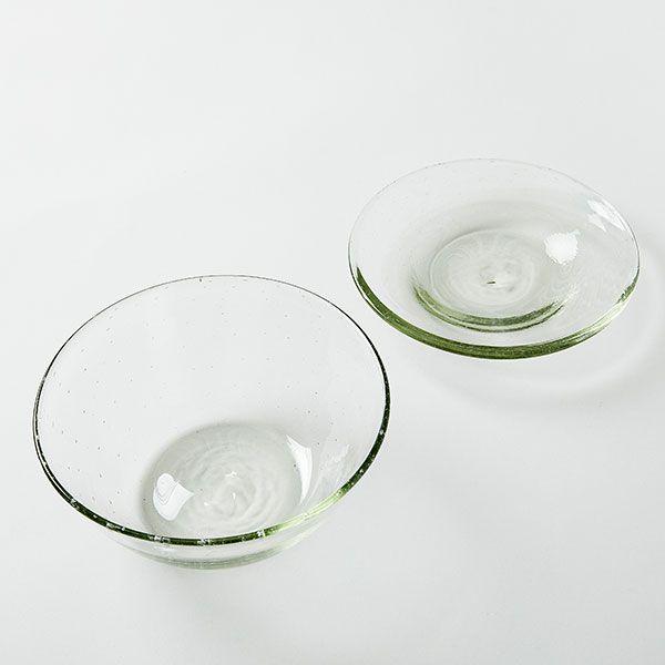 ガラス工房 清天 気泡入り 7寸皿