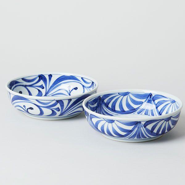 梅山窯 砥部焼の六寸鉢 流れ菊