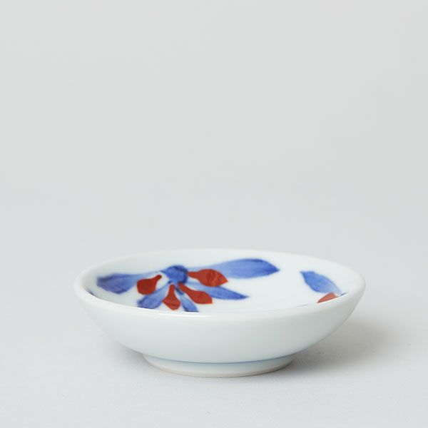 梅山窯 砥部焼の豆皿 呉須赤菊3つ