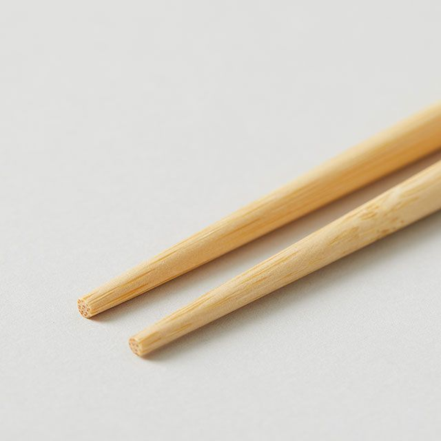 白竹の調理菜箸 三角/赤