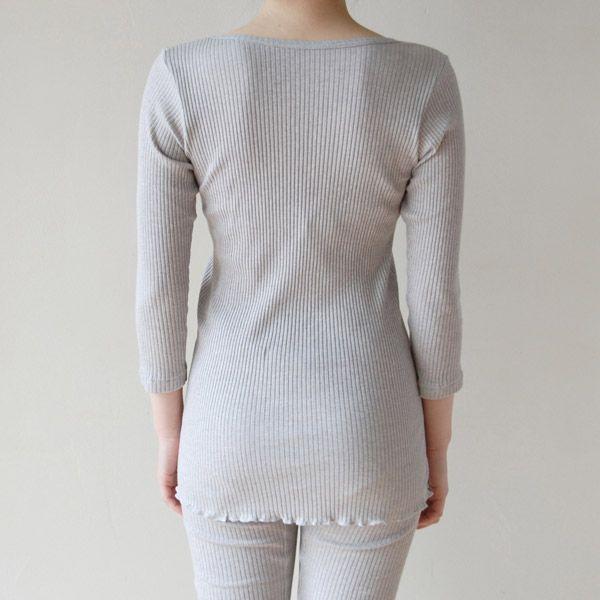 天衣無縫 リブカラー 8分袖シャツ グレー