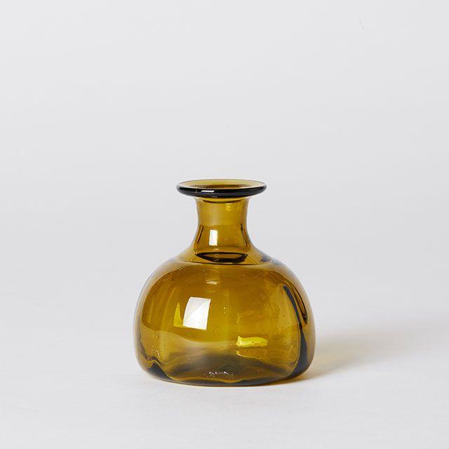 再生ガラス 野の花こびん 丸底 太 / ガラス工房 橙