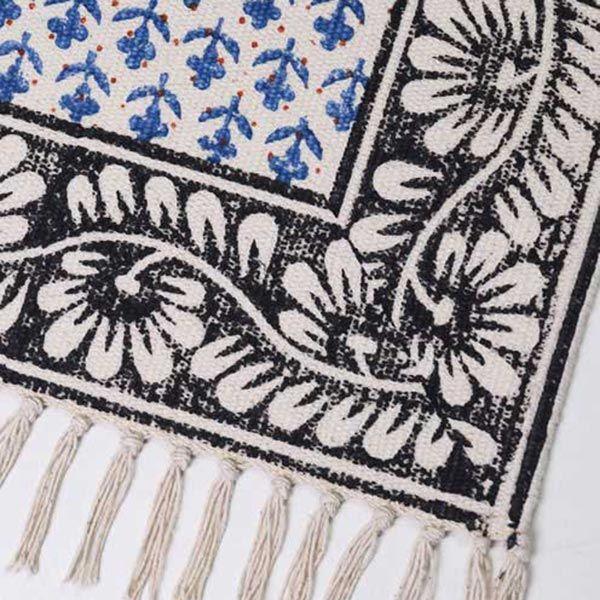 手織りブロックプリントラグマット ブルー