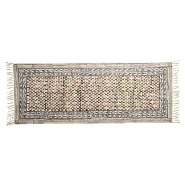 手織りブロックプリントラグマット ロング イエロー