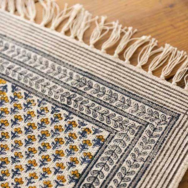 手織りブロックプリントラグマット イエロー