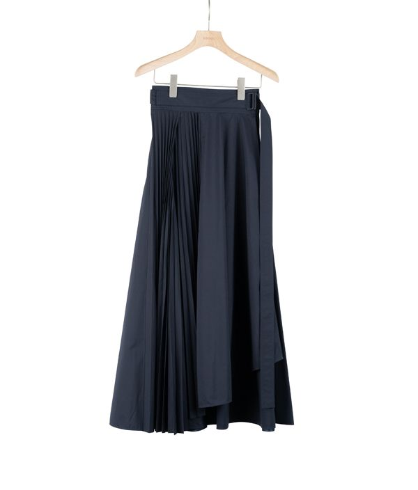 ATON BELTED WRAP PLEATS SKIRT / NAVY