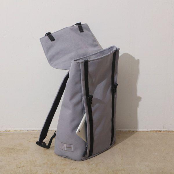 MHWAY BELL フラップ付きバッグパック L ライトグレー