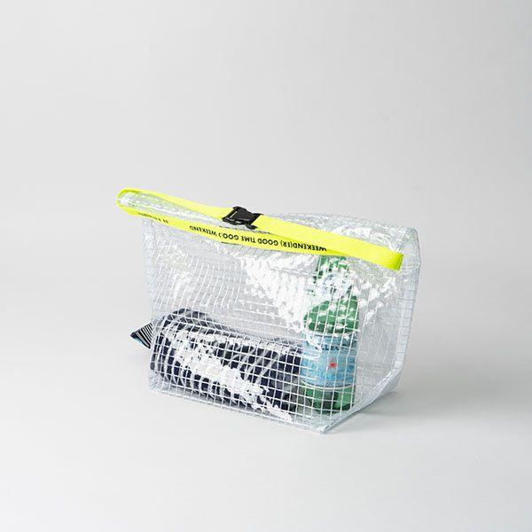 PVC ロールトップ ショルダーバッグ グリッド