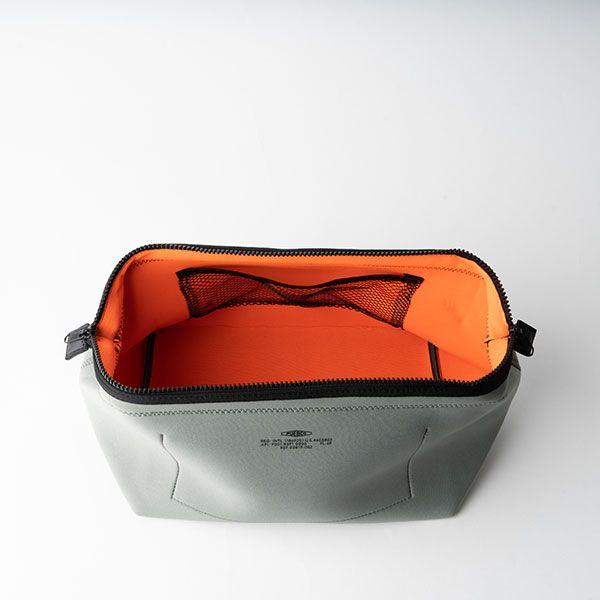ワイヤーポーチ L ライトグレー×オレンジ