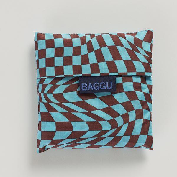 BAGGU Standard Bag チェッカー スカイブルー×ブラウン