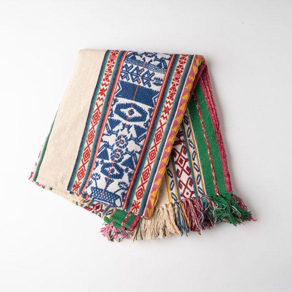 インド刺繍 ジャガードスロー アイボリー