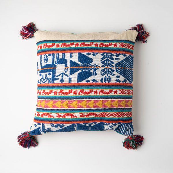 インド刺繍 ジャガードクッション 45×45 アイボリー