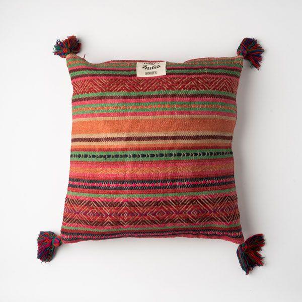 インド刺繍 ジャガードクッション 45×45 ピンクミックス