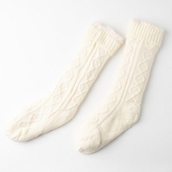 ルームソックス アラン編み ホワイト