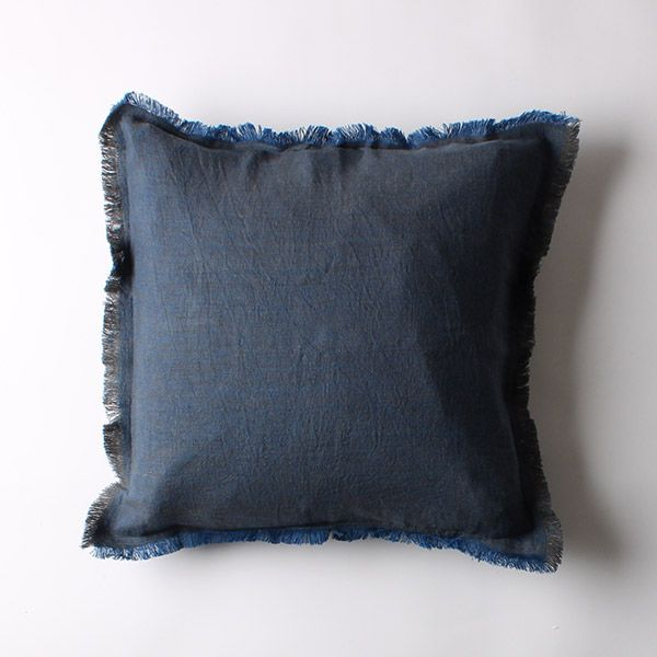 リネンクッションカバー 45×45 フリンジ ブルー