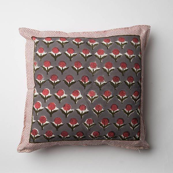 ブロックプリントフラワークッションカバー 45×45 ピンク