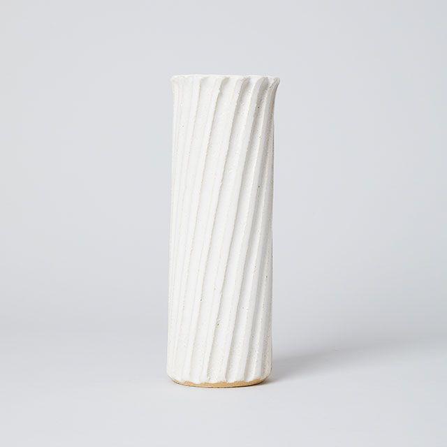 丸伊製陶 ベース 白糸 筒 白