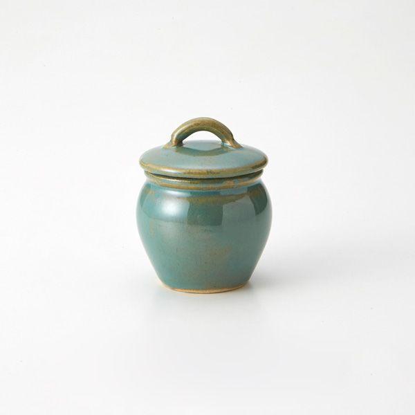 益子焼の丸壷 小 青磁釉