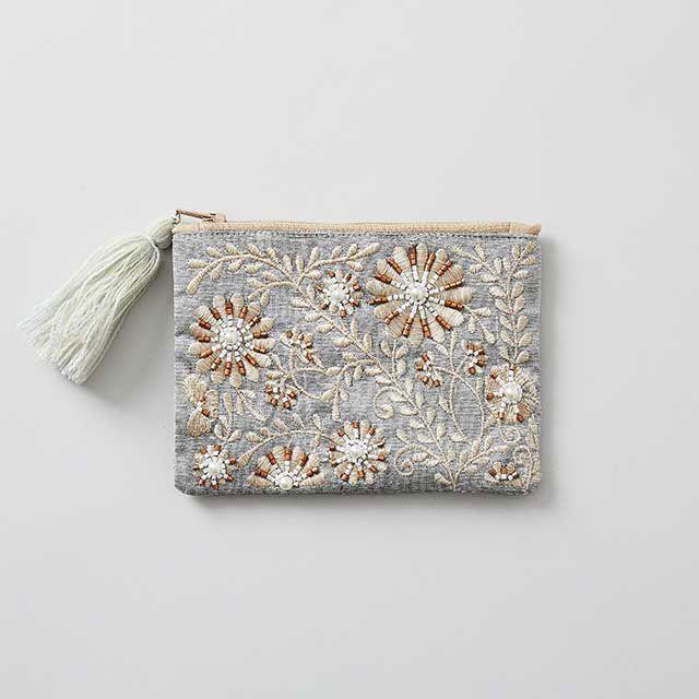 ビーズ刺繍ミニフラットポーチ グレー